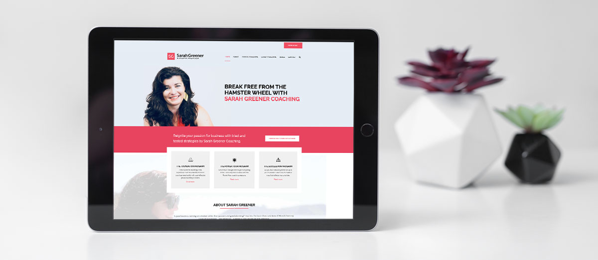 sarah greener business coach website ipad mockup