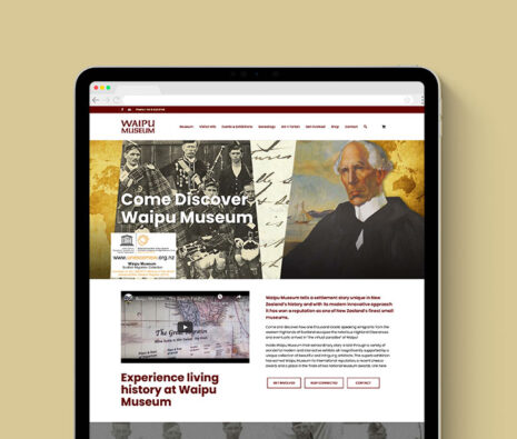museum website mockup on ipad